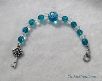 Seagreen Christmas glass bead Scissors fob, key charm