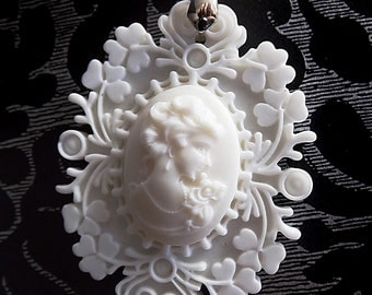 White cameo necklace