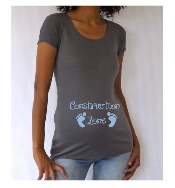 """Maternity Gray Maternity """"Construction Zone"""" Shirt with 3/4 sleeves and blue lettering"""