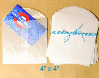 """50 - 4"""" x 4"""" Square Glassine Envelopes - Translucent - Acid-Free - for  party favors, packaging, scrapbooks and more                more"""