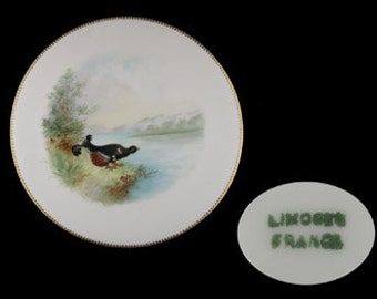 Vintage Limoges Gold Trimmed Bird Plate