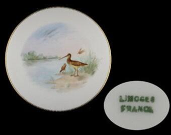 Vintage Limoges Gold Trimmed Long-Billed Bird Decorative Plate