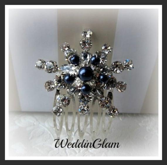 Navy Blue Elegant Headpiece Hair Accessories Bridal Hair