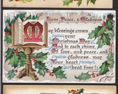 3 Antique Christmas-Holiday-Victorian-Calligraphy-Holly-Postcard Lot  (21A)