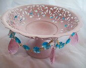 Pink Pedestal Cottage Style Candy Dish Pink and Turquoise Chandelier Crystals Shabby Chic Aqua Filigree
