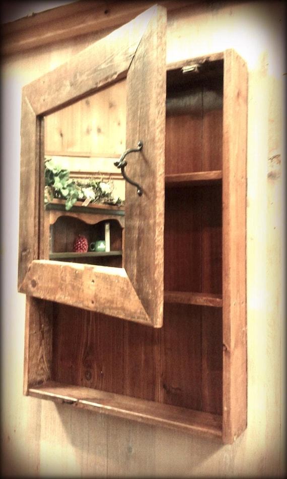 Items similar to rustic barn wood medicine cabinet w for Barnwood medicine cabinet