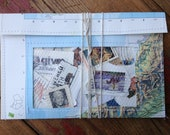 vintage stamps in map pouch