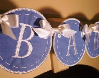 Fabric Baby Shower Banner Keepsake Nursery Banner - Free Personalization