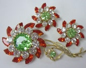 Vintage JUDY LEE Orange and Green Headlight Flower Brooch Earring Demi Parure Set