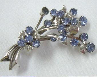 Vintage Blue Rhinestone Flower Bouquet Brooch