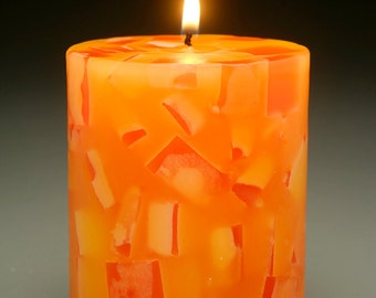 Orange Mosaic Pillar Candle