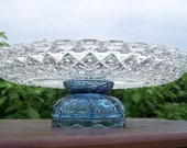 blue cake stand/glass cake stand/vintage cake stand/cupcake stand