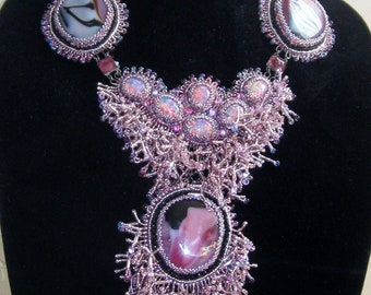 Fancy Pink Coraled Necklace
