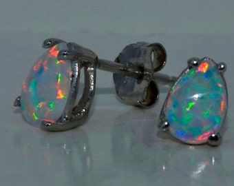 Opal Pear Stud Earrings .925 Sterling Silver Rhodium Finish