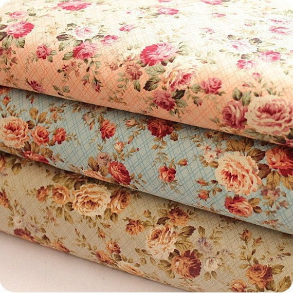 vintage fabric vintage rose cotton fabric cottage style. Black Bedroom Furniture Sets. Home Design Ideas