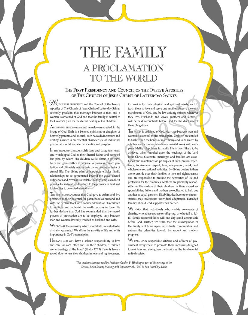 Slobbery image with regard to family proclamation printable