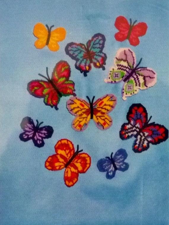 Butterfly Magnets Needlepoint Stitchery Kit by Luvlee Designs Set of 10