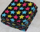 Flannel wipes: black with stars