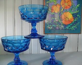 Vintage Blue Sherbet/Champagne Glasses Set of 8