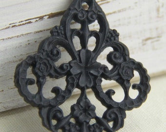 6 pcs of german filigree charm 0289-45x55mm-33-black