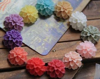 12 pcs of resin flower cabochon20mm-0031-mix color