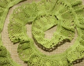 Stretch cotton lace 5yds green L27 ruffled trim eco friendly organic natural clothes design sewing supplies accessories