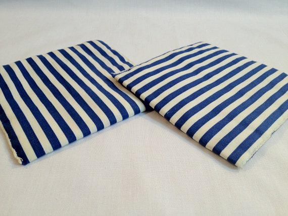 Vintage 1950s Blue and White Striped Pot Holders