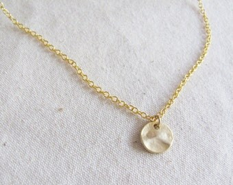 Hammered Gold Texture Coin Necklace - Coin Necklace - Gold Coin Necklace - Simple Necklace - Everyday Necklace - Dainty Necklace