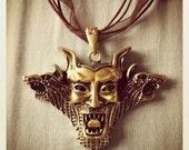 REDUCED PRICE Demon devil monster satanic evil face head ribbon chain necklace