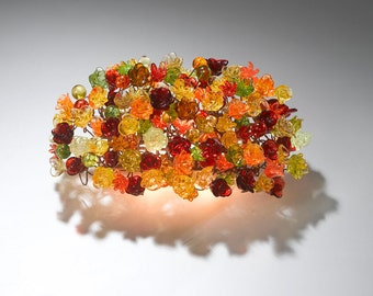 Wall sconce light with Warm color flowers , decorative wall light for living room up and down light.