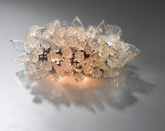 Wall light fixture - sconce up down light, Transparent flowers and leaves.