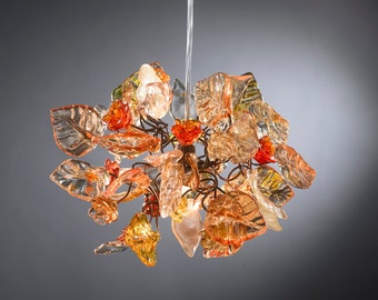 Chandelier lighting with Orange shades flowers and leaves for hall, bathroom or children room.
