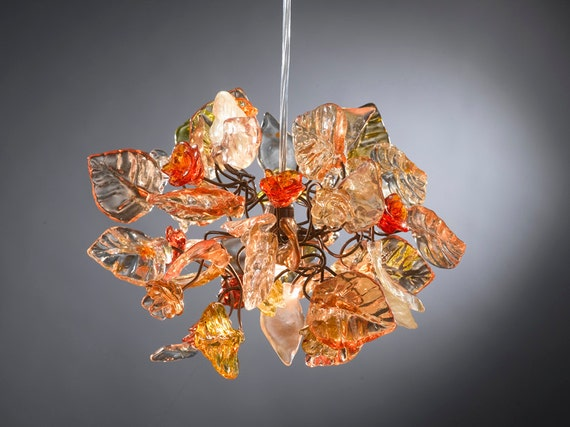 pendant lighting with shades of Orange color flowers and leaves for hall, bathroom or children room.
