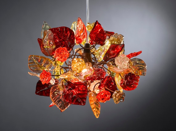 Ceiling light fixture with warm shades of flowers and leaves hanging chandelier for hall, bathroom.