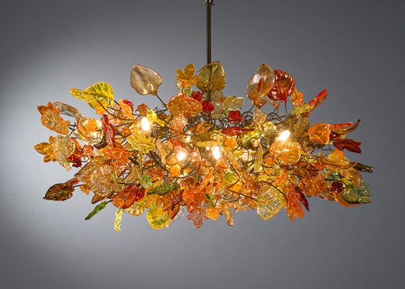 Chandeliers Ceiling Lights with Orange flowers and leaves for Dinning Room, living room or bedroom.