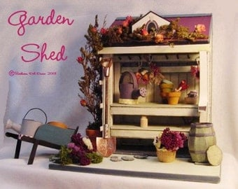 """Garden Shed miniature 1"""" Scale, Printable Miniature, Dollhouse, Garden Shed for doll house, Minis, one inch scale,"""