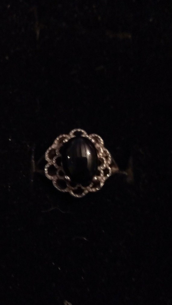Vintage Ring Sterling Silver & Onyx Oval Antique Weave Setting SS09 Sz 3.5/4