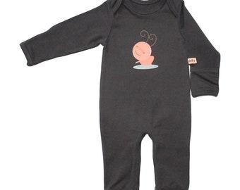 Organic Baby Romper - Smokey Black Ant