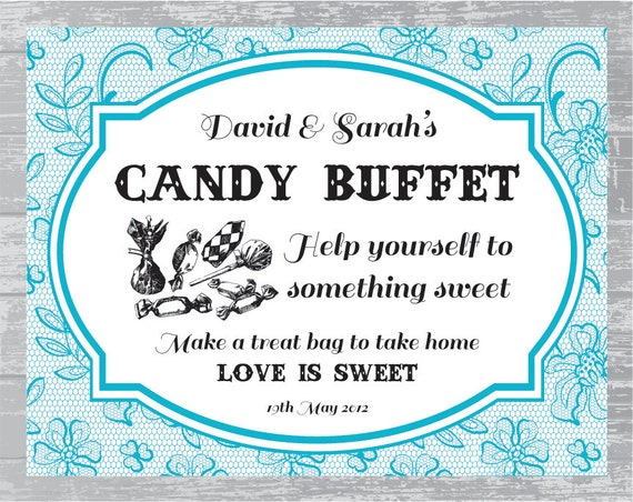 Custom Lace Candy Buffet Sign DIY Wedding Sign by ...
