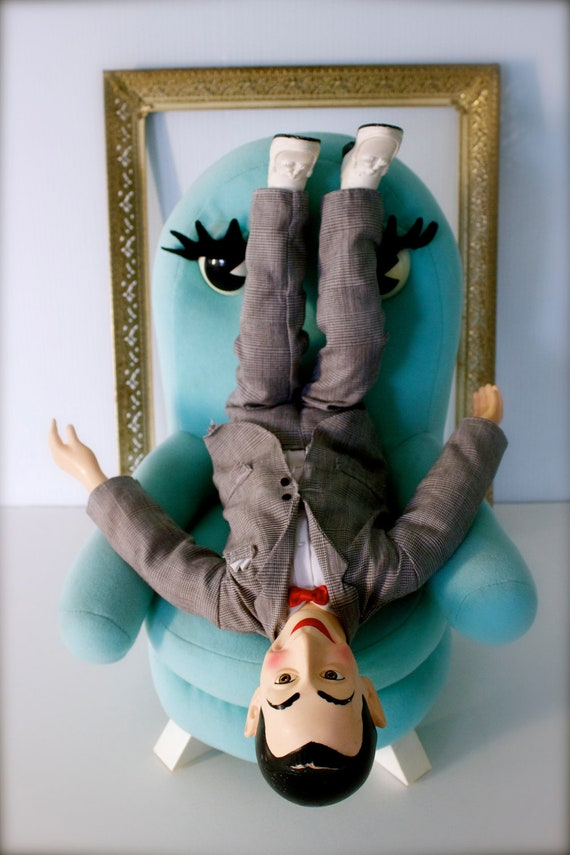 vintage retro pee wee herman doll with chairy puppet. Black Bedroom Furniture Sets. Home Design Ideas