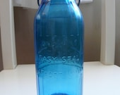 """Vintage Blue Crownford China 1969 One Pint Milk Bottle """"God Bless Our House"""""""