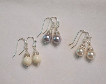Pearl Bridesmaid Bridesmaid Earrngs Bridesmaid Jewelry Swarovski Pearl White Pearl Earrings Wedding Jewelry
