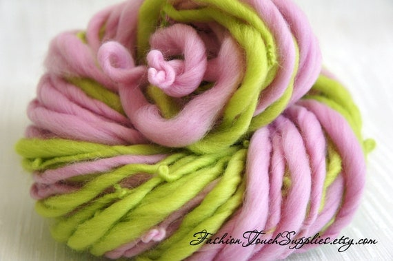 Super Bulky Handspun Yarn Rose, Thick and Thin Yarn, Art Yarn, knitting supplies crochet supplies