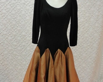 50s Dress / 50s Party Dress / Vintage 1950s Black and Copper Party Dress S