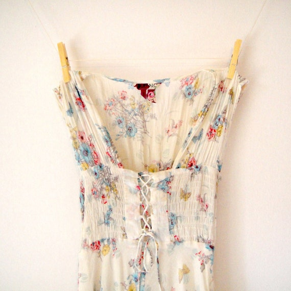 Vintage. Bohemian White Floral Sleeveless Corset Dress. Sundress. Fit N Flare. Whimsical. High-Low Hem. Midi. Festival. Hippie. XS