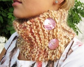 Knitted Scarf, Neck Cowl, Chunky Wool, Cream, Pink and Orange With Pink Shell Buttons