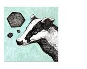 Black Friday Etsy Art Sale 10% Cyber Monday  Hex Badger - Original Art - 6x6 Animal Painting.  Geometric.  Mint.  Aqua.