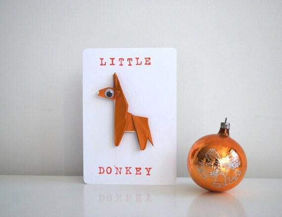 Little Donkey Origami Christmas Card, handmade greetings cards