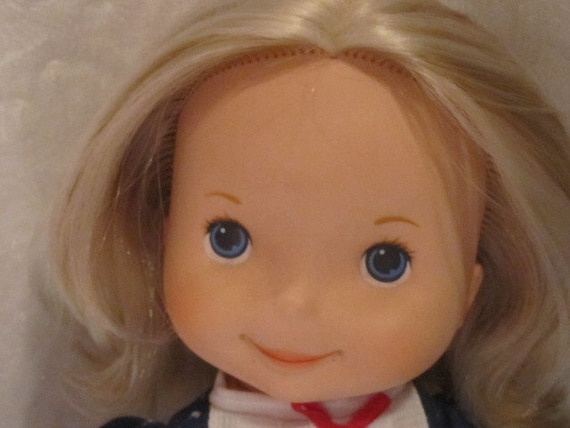"MANDY Fisher Price Doll My Friend Dolls 16""  blue white dress"