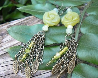 SALE victorian rose earrings olive jade rose  yellow turquoise brass leaves  victorian  boho gypsy style